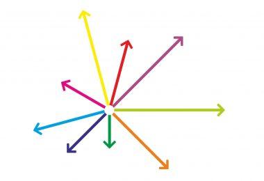 Abweichung bei der fachlichen Qualifikation - Pfeile in verschiedene Richtungen