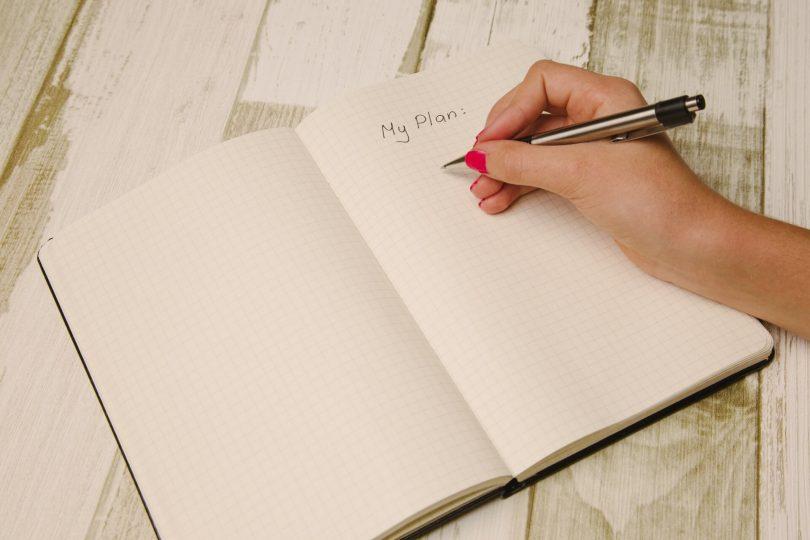 """Das Motivationsschreiben: Bild eines Buches in dem """"My Plan"""" steht"""