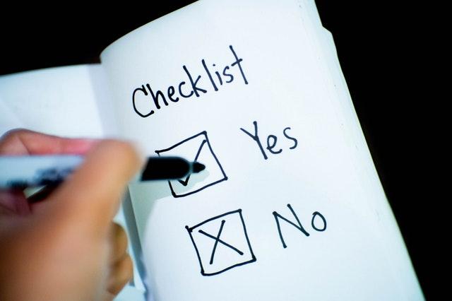 Checkliste - Yes und No zum ankreuzen